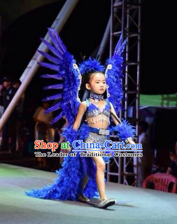 Top Grade Compere Professional Performance Catwalks Swimsuit Costume, Children Chorus Customize Blue Bikini Full Dress Modern Dance Baby Princess Modern Fancywork Long Trailing Clothing for Girls Kids