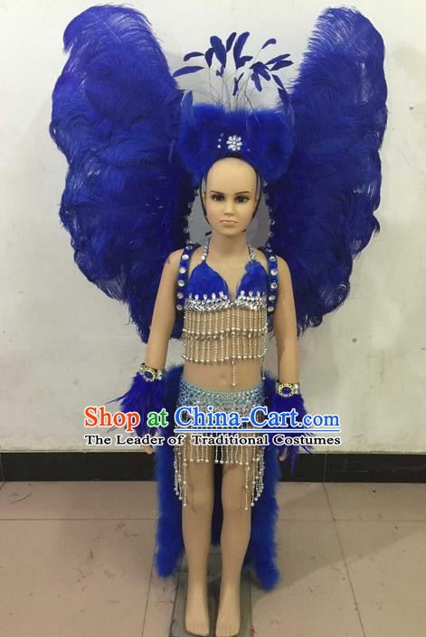 Top Grade Compere Professional Performance Catwalks Swimsuit Costume, Children Chorus Customize Blue Feather Full Dress with Wings Modern Dance Baby Princess Modern Fancywork Long Trailing Clothing for Girls Kids