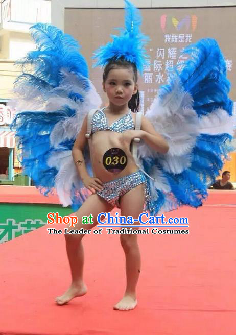 Top Grade Compere Professional Performance Catwalks Swimsuit Costume, Children Chorus Customize Blue Bikini Full Dress With Wings Modern Dance Baby Princess Modern Fancywork Long Trailing Clothing for Girls Kids