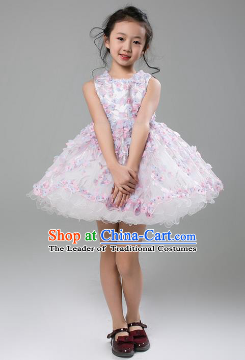 Top Grade Compere Professional Performance Catwalks Costume, Flower Faerie Children Chorus Customize White Bubble Full Dress Modern Dance Baby Princess Modern Fancywork Short Ball Gown Dress for Girls Kids