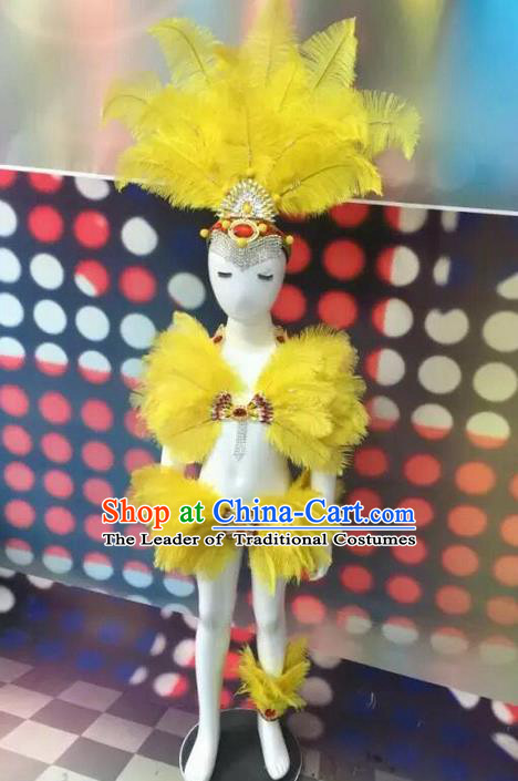 Top Grade Compere Professional Performance Catwalks Swimsuit Bikini Costume, Children Chorus Customize Yellow Feather Full Dress Modern Dance Baby Princess Modern Fancywork Long Trailing Clothing Complete Set for Girls Kids