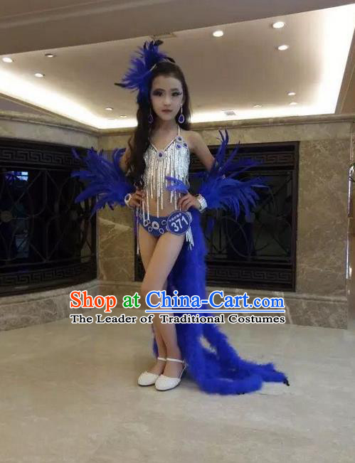 Top Grade Compere Professional Performance Catwalks Swimsuit Bikini Costume, Children Chorus Customize Blue Feather Wings Full Dress Modern Dance Baby Princess Modern Fancywork Long Trailing Clothing Complete Set for Girls Kids