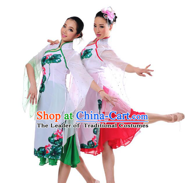 Traditional Chinese Classical Dance Yangge Fan Dancing Costume, Folk Dance Yangko Costume For Women