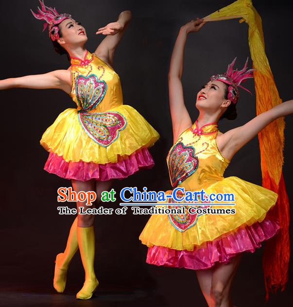 Traditional Chinese Classical Dance Fan Dancing Umbrella Dance Costume, Folk Dance Drum Dance Uniform Yangko Bubble Dress for Women