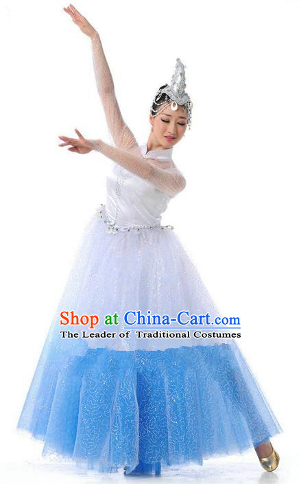 Traditional Chinese Classical Dance Fan Dancing Umbrella Dance Costume, Folk Dance Opening Dance Uniform Bubble Long Dress for Women