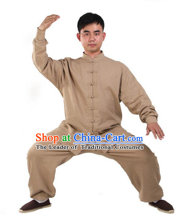 Top Kung Fu Costume Pulian Clothing Martial Arts Khaki Suits, Training Costume Tai Ji Uniforms Gongfu Shaolin Wushu Tai Chi Clothing for Men