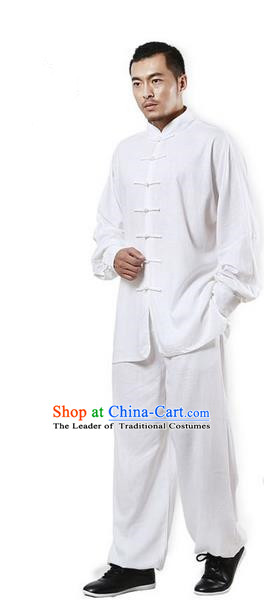 Top Grade Kung Fu Costume Martial Arts White Linen Suits Pulian Zen Clothing, Training Costume Tai Ji Uniforms Gongfu Shaolin Wushu Tai Chi Plated Buttons Clothing for Men