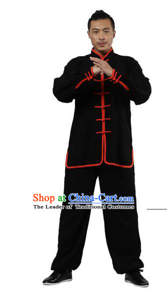 Top Grade Kung Fu Costume Martial Arts Black Red Edge Suits Pulian Zen Clothing, Training Costume Tai Ji Uniforms Gongfu Shaolin Wushu Tai Chi Plated Buttons Clothing for Men