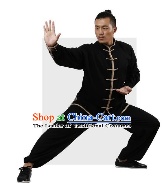 Top Grade Kung Fu Costume Martial Arts Black Grey Edge Suits Pulian Zen Clothing, Training Costume Tai Ji Uniforms Gongfu Shaolin Wushu Tai Chi Plated Buttons Clothing for Men