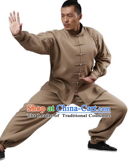 Top Grade Kung Fu Costume Martial Arts Khaki Brushed Linen Thicken Suits Pulian Zen Clothing, Training Costume Tai Ji Uniforms Gongfu Shaolin Wushu Tai Chi Plated Buttons Clothing for Men