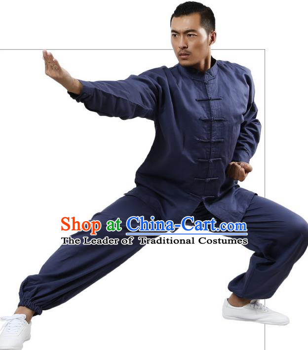 Top Grade Kung Fu Costume Martial Arts Navy Linen Suits Pulian Zen Clothing, Training Costume Tai Ji Meditation Uniforms Gongfu Wushu Tai Chi Plated Buttons Clothing for Men