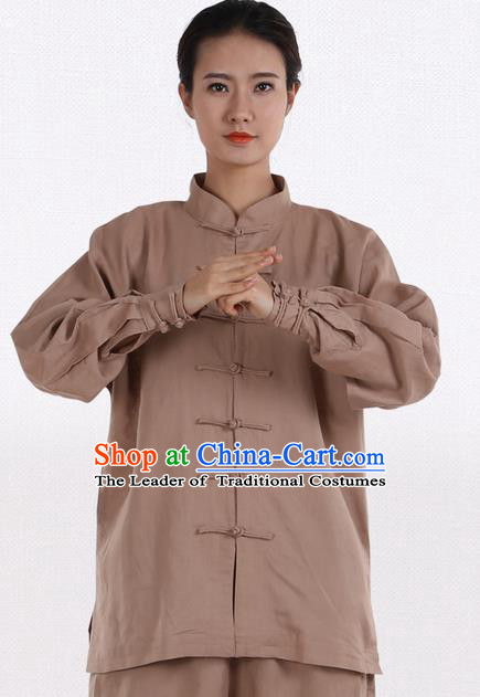 Top Grade Kung Fu Costume Martial Arts Khaki Linen Suits Pulian Zen Clothing, Training Costume Tai Ji Meditation Uniforms Gongfu Wushu Tai Chi Plated Buttons Clothing for Women