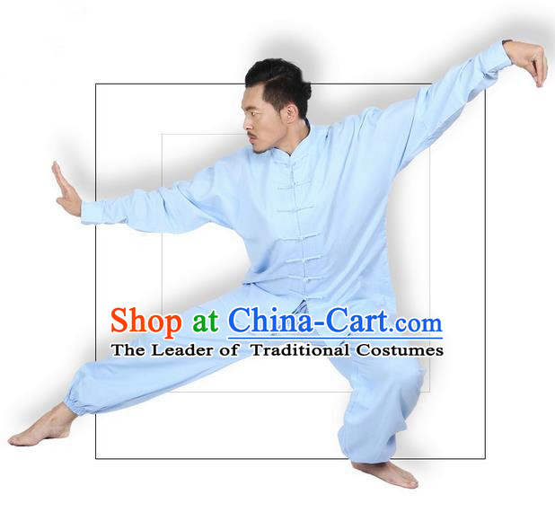 Top Grade Kung Fu Costume Martial Arts Blue Linen Suits Pulian Zen Clothing, Training Costume Tai Ji Meditation Uniforms Gongfu Wushu Tai Chi Plated Buttons Clothing for Men