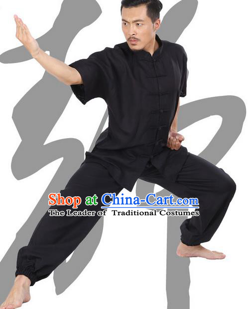 Top Grade Kung Fu Costume Martial Arts Grey Linen Suits Pulian Zen Clothing, Training Costume Tai Ji Meditation Uniforms Gongfu Wushu Tai Chi Plated Buttons Clothing for Men