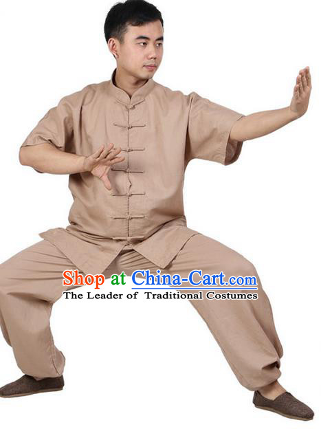 Top Grade Kung Fu Costume Martial Arts Khaki Linen Suits Pulian Zen Clothing, Training Costume Tai Ji Meditation Uniforms Gongfu Wushu Tai Chi Short Sleeve Clothing for Men