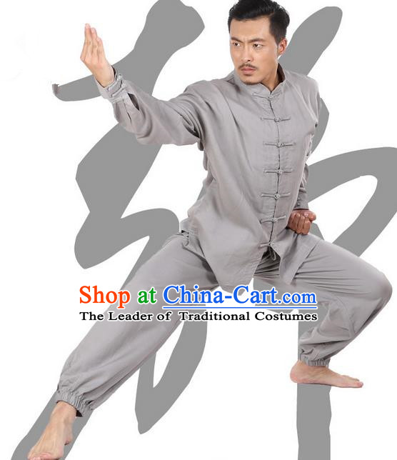 Top Grade Kung Fu Costume Martial Arts Light Grey Linen Suits Pulian Zen Clothing, Training Costume Tai Ji Meditation Uniforms Gongfu Wushu Tai Chi Plated Buttons Clothing for Men