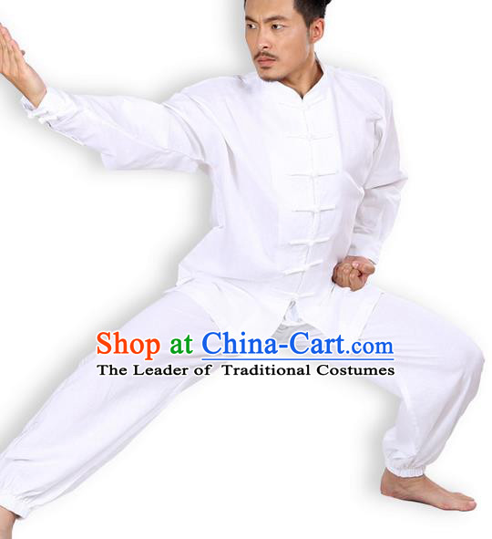 Top Grade Kung Fu Costume Martial Arts White Linen Suits Pulian Zen Clothing, Training Costume Tai Ji Meditation Uniforms Gongfu Wushu Tai Chi Plated Buttons Clothing for Men