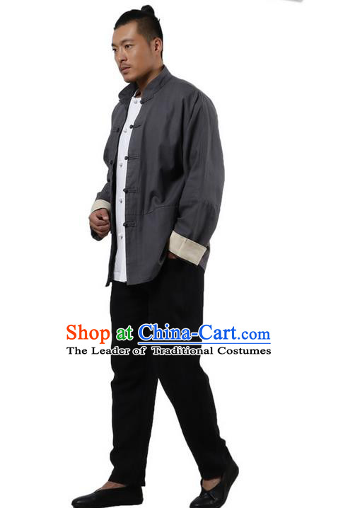 Top Grade Chinese Kung Fu Costume Martial Arts Grey Linen Coats Pulian Clothing, Gongfu Meditation Shaolin Wushu Tai Chi Tang Suit Jacket for Men