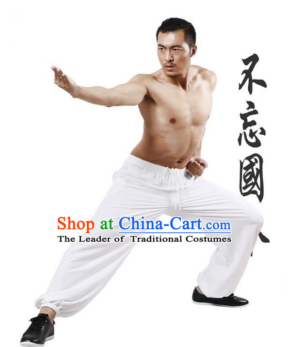 Top Grade Kung Fu Costume Martial Arts White Linen Pants Pulian Training Bloomers, Gongfu Trousers Shaolin Wushu Tai Chi Plus Fours for Men
