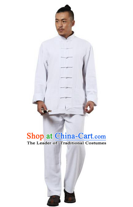 Traditional Chinese Kung Fu Costume Martial Arts White Ramine Suits Pulian Meditation Clothing, Tai Ji Uniforms Wushu Tai Chi Zen Clothing for Women for Men