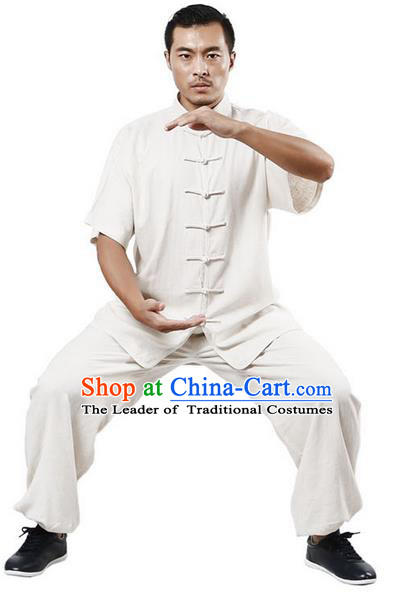 Traditional Chinese Kung Fu Costume Martial Arts Linen White Suits Pulian Meditation Clothing, Tang Suit Plated Buttons Uniforms Tai Chi Clothing for Women for Men