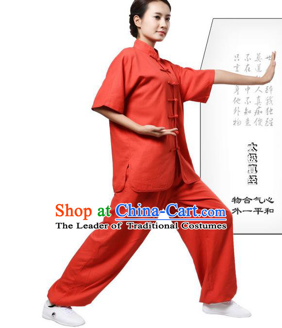 Traditional Chinese Kung Fu Costume Martial Arts Linen Watermelon Red Suits Pulian Meditation Clothing, Tang Suit Plated Buttons Uniforms Tai Chi Clothing for Women