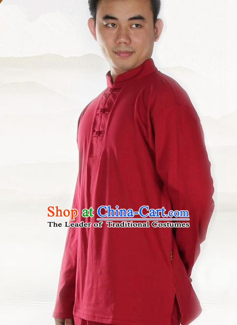 Traditional Chinese Kung Fu Costume Martial Arts Linen Plated Buttons Red Shirt Pulian Meditation Clothing, China Tang Suit T-Shirts Tai Chi Clothing for Men