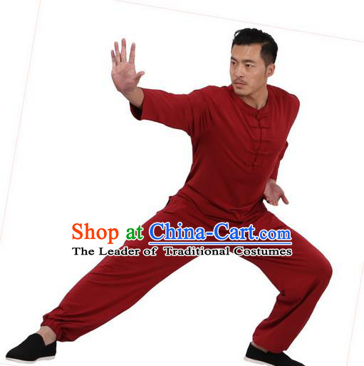 Traditional Chinese Kung Fu Costume Martial Arts Linen Plated Buttons Red Suits Pulian Meditation Clothing, China Tang Suit Uniforms Tai Chi Clothing for Men