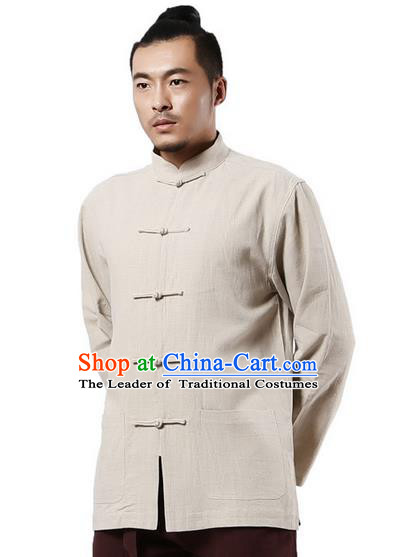 Traditional Chinese Kung Fu Costume Martial Arts Linen Plated Buttons Beige Overshirt Pulian Clothing, China Tang Suit Shirt Tai Chi Clothing for Men