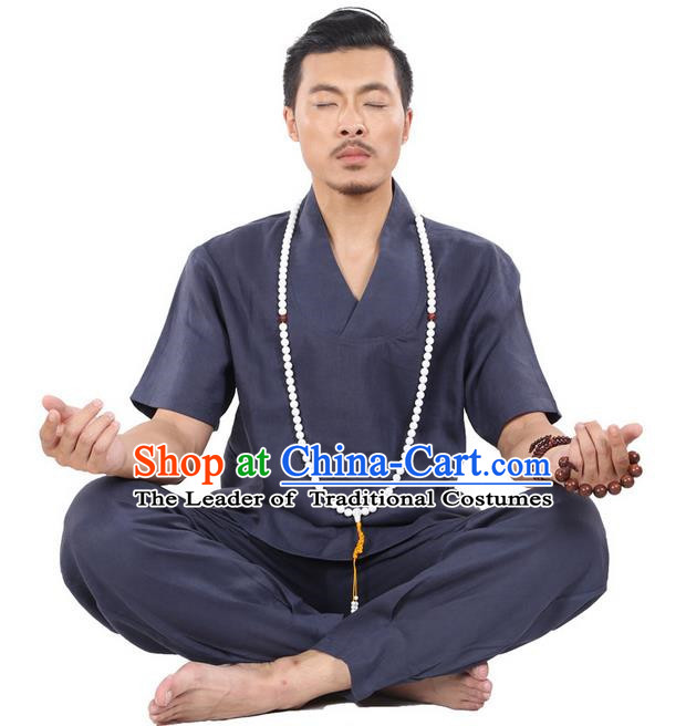 Traditional Chinese Kung Fu Costume Martial Arts Linen Navy Suits Pulian Clothing, China Tang Suit Uniforms Tai Chi Meditation Clothing for Men