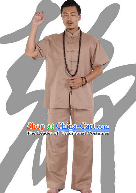 Traditional Chinese Kung Fu Costume Martial Arts Ice Silk Linen Short Sleeve Khaki Suits Pulian Clothing, China Tang Suit Uniforms Tai Chi Meditation Clothing for Men