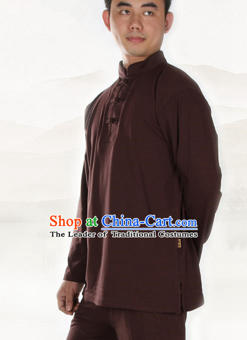 Traditional Chinese Kung Fu Costume Martial Arts Linen Plated Buttons Coffee Shirt Pulian Meditation Clothing, China Tang Suit T-Shirts Tai Chi Clothing for Men