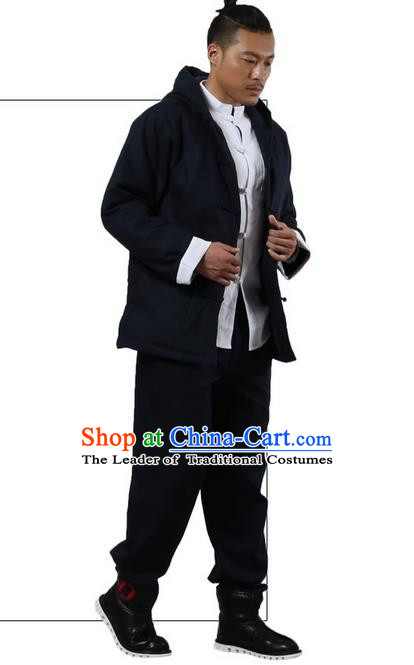 Traditional Chinese Kung Fu Costume Martial Arts Linen Hooded Coat Pulian Clothing, China Tang Suit Jackets Tai Chi Meditation Navy Overcoat Clothing for Men