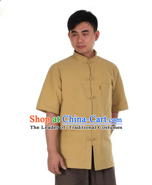 Traditional Chinese Kung Fu Costume Martial Arts Linen Short Sleeve Shirts Pulian Clothing, China Tang Suit T-Shirt Tai Chi Meditation Khaki Overshirt for Men