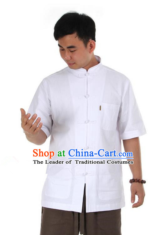 Traditional Chinese Kung Fu Costume Martial Arts Linen Short Sleeve Shirts Pulian Clothing, China Tang Suit T-Shirt Tai Chi Meditation White Overshirt for Men
