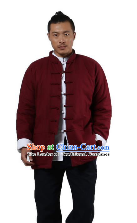 Traditional Chinese Kung Fu Costume Martial Arts Linen Plated Buttons Coat Pulian Clothing, China Tang Suit Jackets Tai Chi Meditation Red Overcoat Clothing for Men