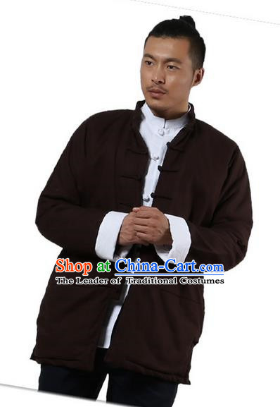 Traditional Chinese Kung Fu Costume Martial Arts Linen Plated Buttons Coat Pulian Clothing, China Tang Suit Jackets Tai Chi Meditation Coffee Overcoat Clothing for Men