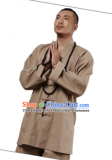 Traditional Chinese Kung Fu Costume Martial Arts Linen Plated Buttons Khaki Suits Pulian Clothing, China Tang Suit Uniforms Tai Chi Monk Meditation Clothing for Men