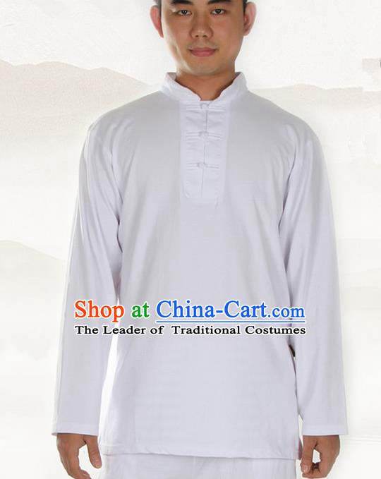 Traditional Chinese Kung Fu Costume Martial Arts Linen Plated Buttons White Shirt Pulian Meditation Clothing, China Tang Suit T-Shirts Tai Chi Clothing for Men