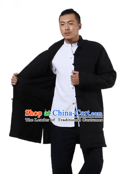 Traditional Chinese Kung Fu Costume Martial Arts Linen Plated Buttons Cotton-padded Coats Pulian Clothing, China Tang Suit Dark Blue Jacket Tai Chi Meditation Upper Outer Garment for Men