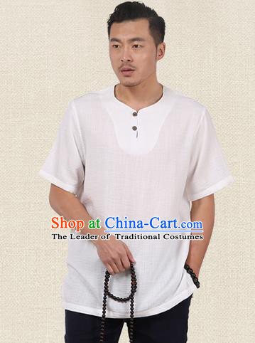 Traditional Chinese Kung Fu Costume Martial Arts Linen Short Sleeve T-Shirts Pulian Clothing, China Tang Suit Tai Chi Overshirt White Upper Outer Garment for Men