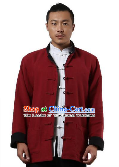 Traditional Chinese Kung Fu Costume Martial Arts Linen Double Side Coats Pulian Clothing, China Tang Suit Tai Chi Overcoat Red and Black Jackets for Men