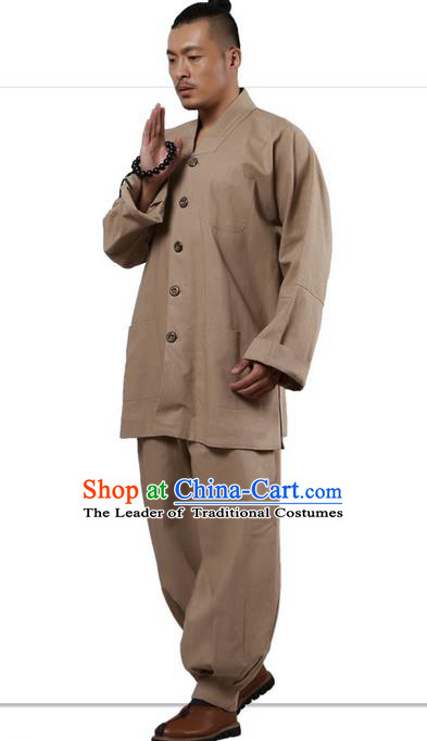 Traditional Chinese Kung Fu Costume Martial Arts Linen Long Sleeve Khaki Monk Uniforms Pulian Clothing, China Tang Suit Tai Chi Meditation Clothing for Men