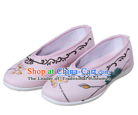 Top Chinese Traditional Tai Chi Embroidered Lotus Linen Shoes Kung Fu Pulian Shoes Martial Arts Pink Shoes for Women