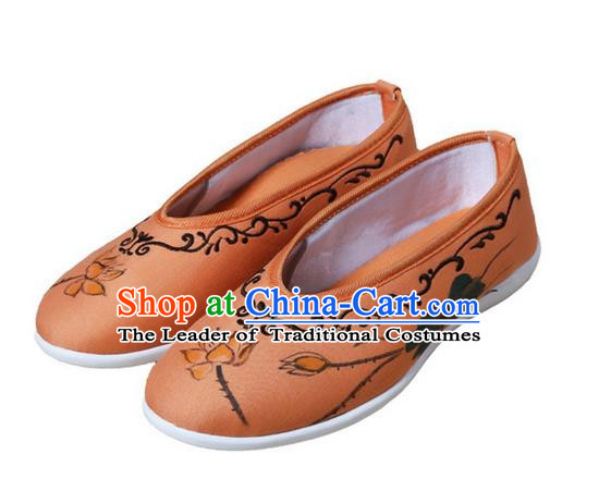 Top Chinese Traditional Tai Chi Embroidered Lotus Linen Shoes Kung Fu Pulian Shoes Martial Arts Orange Shoes for Women