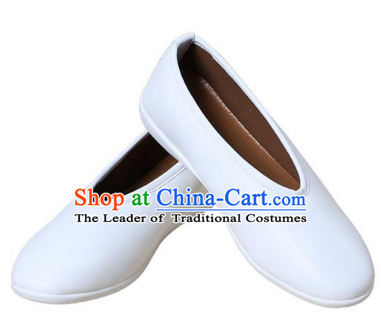 Top Chinese Traditional Tai Chi White Shoes Kung Fu Pulian Shoes Martial Arts Shoes for Men