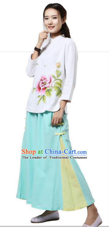 Top Chinese Traditional Costume Tang Suit White Blouse, Pulian Clothing China Cheongsam Upper Outer Garment Painting Peony Flower Plated Buttons Shirts for Women