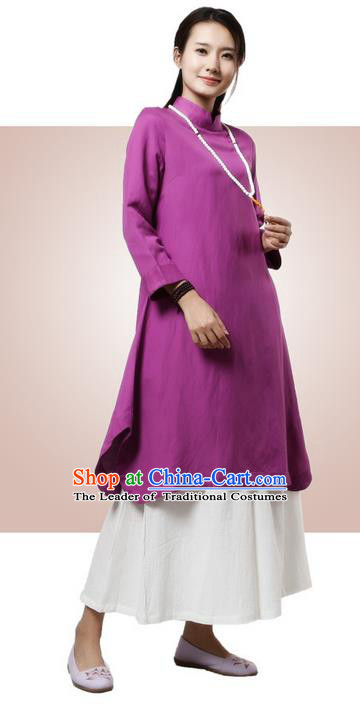 Top Chinese Traditional Costume Tang Suit Purple Qipao Dress, Pulian Clothing China Cheongsam Upper Outer Garment Stand Collar Dress for Women