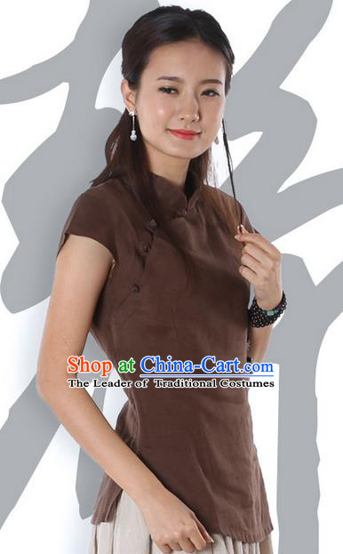 Top Chinese Traditional Costume Tang Suit Coffee Blouse, Pulian Zen Clothing China Cheongsam Upper Outer Garment Stand Collar Shirts for Women