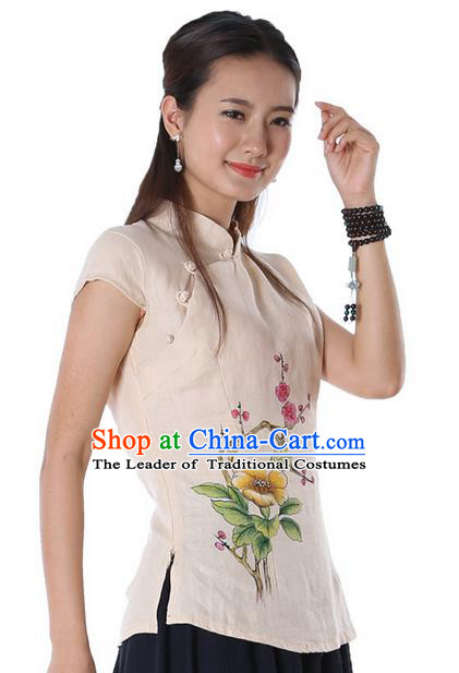 Top Chinese Traditional Costume Tang Suit Beige Painting Trumpet Flowers Blouse, Pulian Zen Clothing China Cheongsam Upper Outer Garment Stand Collar Shirts for Women